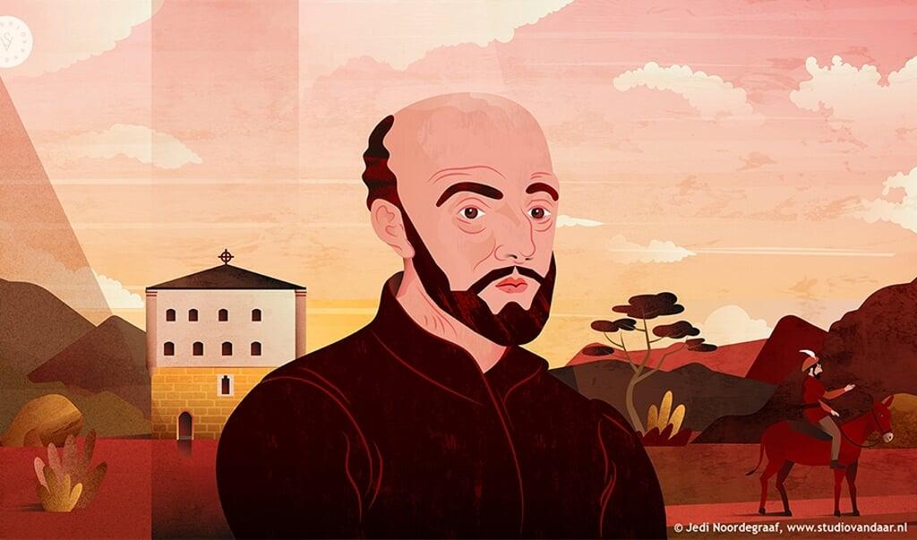 Beeld uit de animatiefilm over Ignatius van Loyola, stichter van de jezuïetenorde.  (beeld Studio Vandaar / Jedi Noordegraaf)