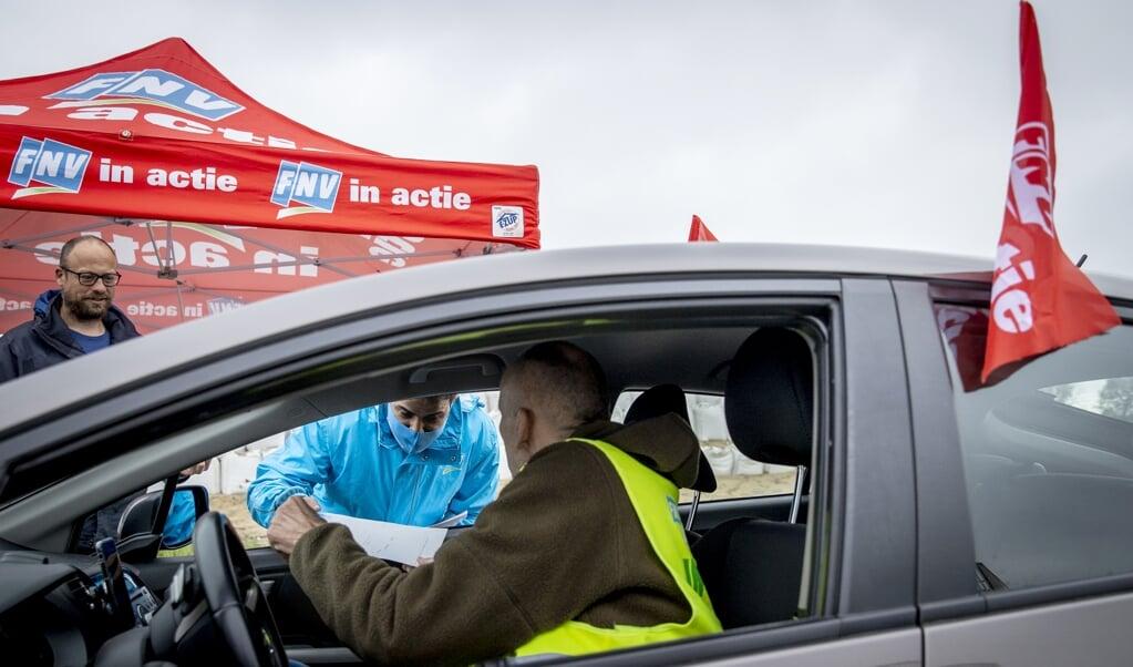 Staking in de transportsector op 14 mei, onder meer over de bescherming van flexwerkers.  (beeld anp / Sem van der Wal)