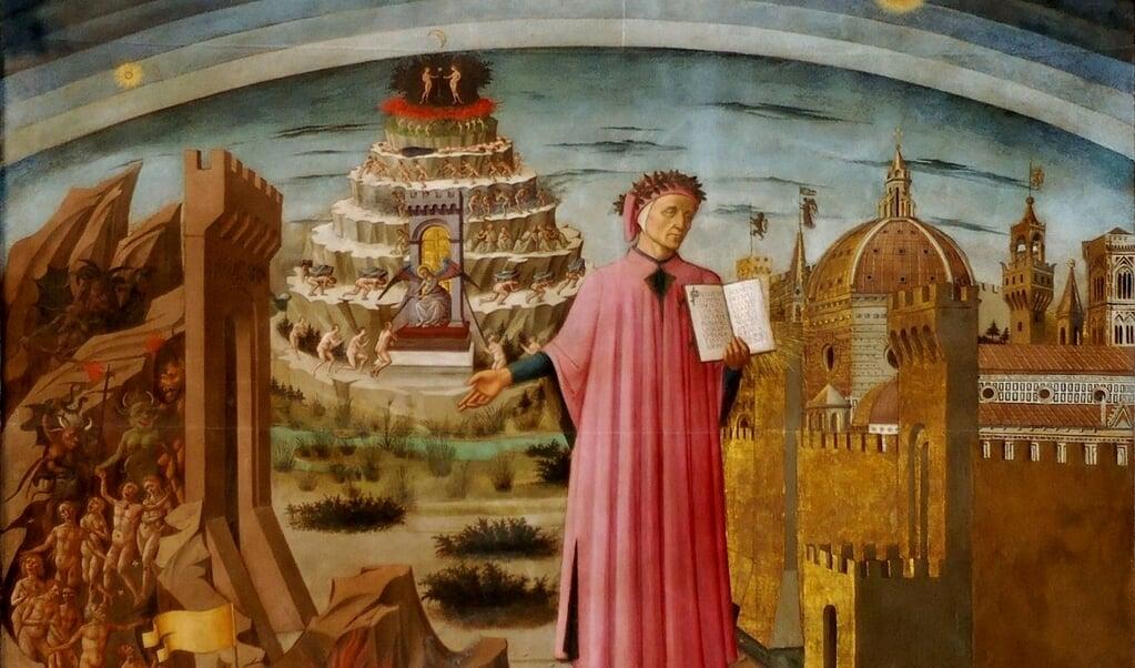 Portret van Dante staande voor Florence met in zijn handen een kopie van zijn Commedia en links de berg van het Purgatorio. Geschilderd door Domenico de Michelino (1465).  (beeld wikipedia)