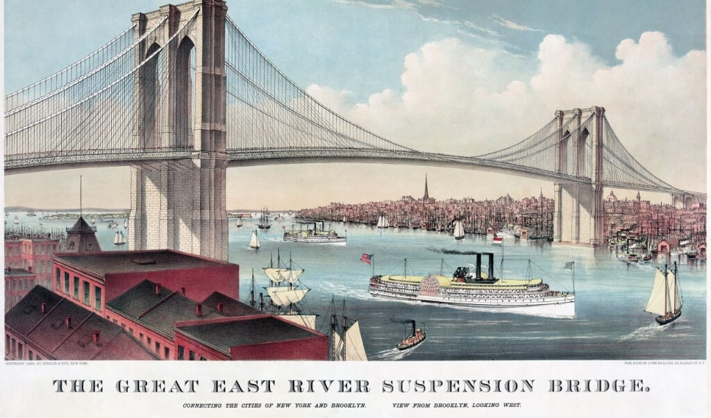 Chromolithografie van de Brooklyn Bridge.  (beeld wikimedia commons / Currier and Ives)