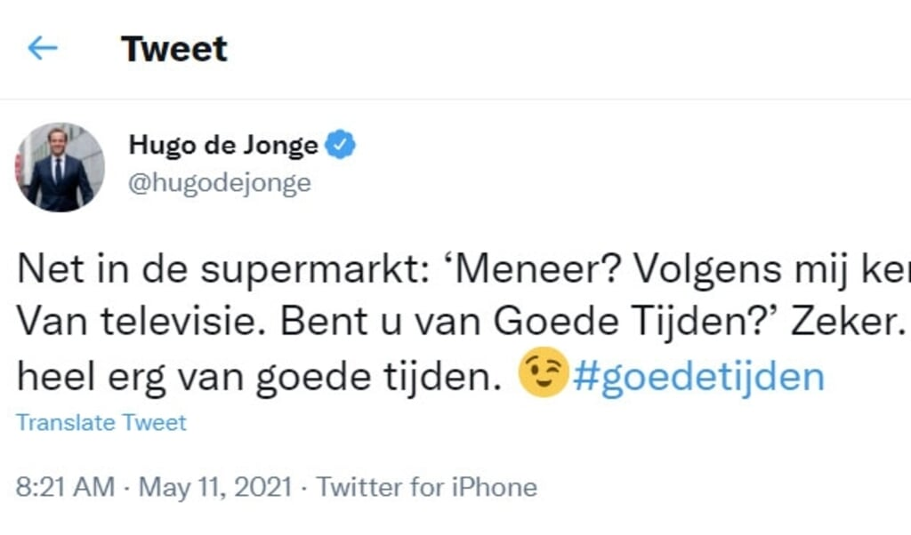 De tweet van Hugo de Jonge met de hashtag #goedetijden.  (beeld twitter)