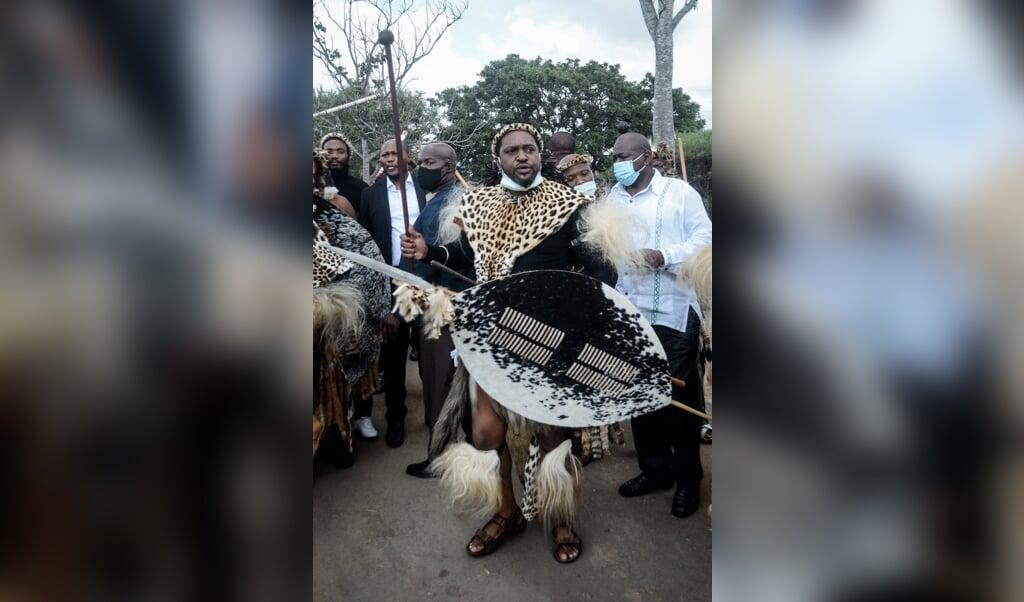 Misuzulu, kort nadat hij is aangewezen als nieuwe koning.   (beeld afp)