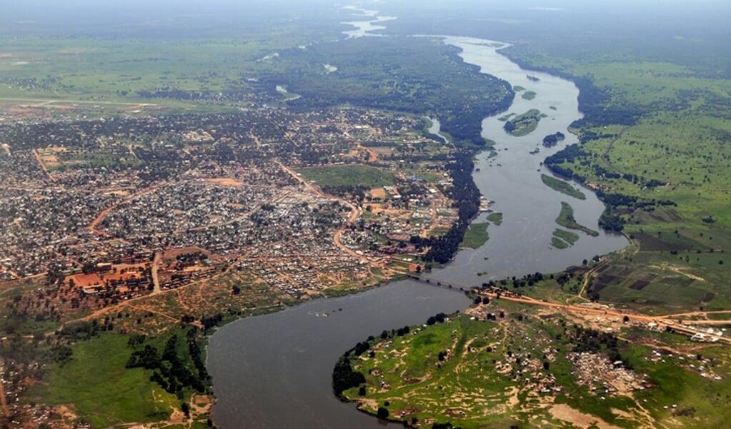 Een luchtfoto van Juba, de hoofdstad van Zuid-Sudan.  (beeld Getty Images)