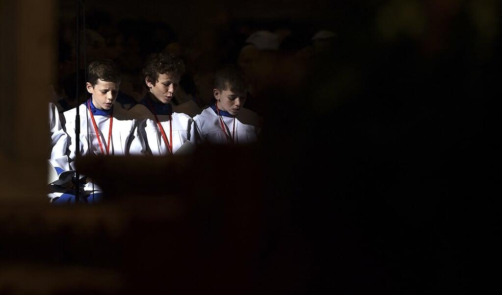 Leerlingen van het Vaticaanse kleinseminarie Pius X tijdens een pauselijke liturgie in de Sint-Pieter in Rome.  (beeld afp / Filippo Monteforte)