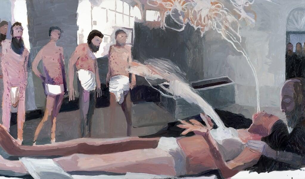 The Exorcism of Mary Magdalene, 2020, olieverf op doek, Helen Verhoeven. Courtesy kunstenaar / Stigter van Doesburg, Amsterdam.  (beeld museum catharijneconvent)
