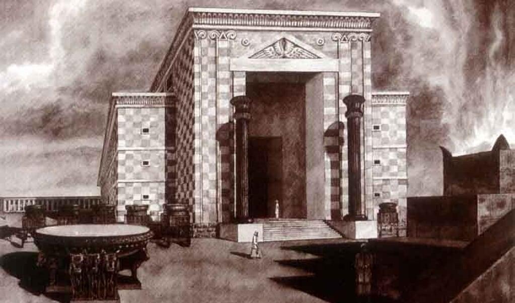 Een reconstructie van de tempel van Salomo.  (beeld wikimedia)