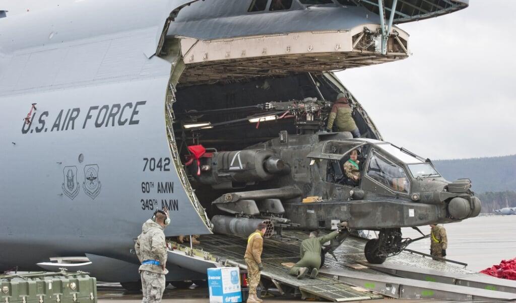 De Verenigde Staten gebruiken militaire bases zoals in Ramstein (Duitsland) als een verzamelgebied voor de inzet van hun strijdkrachten elders in de wereld en dus niet alleen voor Europa.  (beeld Martin Goldhahn / dpa / afp)