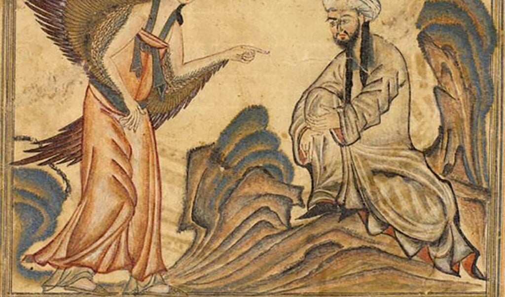 Mohammed ontvangt de openbaringen van de engel Gabriël. Illustratie uit de Jami' al-tawarikh van de Perzische historicus Rashid al-Din.  (beeld wikipedia)