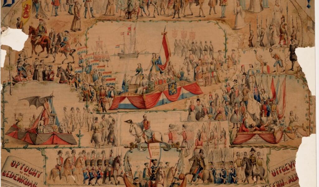 Kleurentekening van de viering van de vijftigste Waterloodag in 1865.  (beeld collectie regionaal archief Alkmaar)