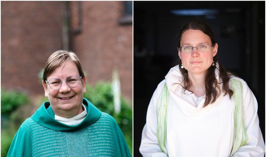 Pastoor Joke Kolkman en dominee Anneke Cluistra.  (beeld Dick Vos)