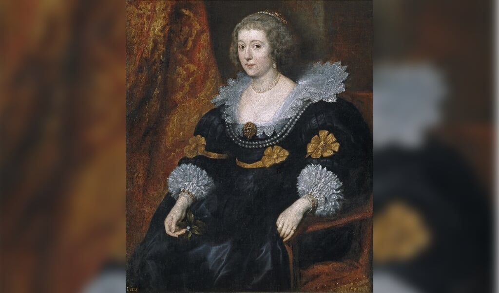 Portret van Amalia van Solms, 1631/32, Antoon van Dyck (1599-1641), Museo Nacional del Prado, Madrid.  (beeld wikipedia)