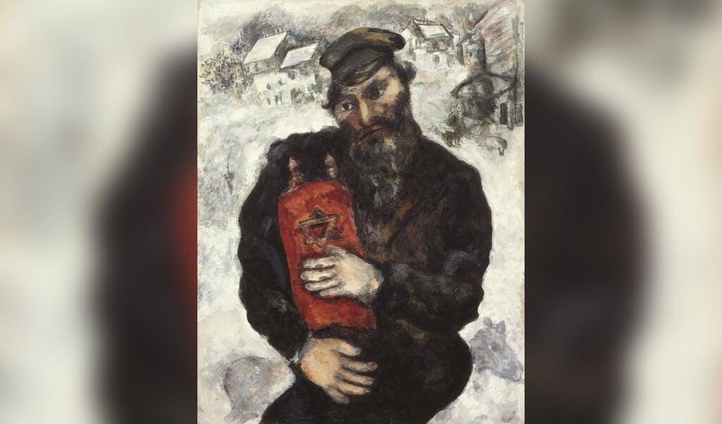 Marc Chagall: Joodse man met thora. Gouache op papier, ca. 1930  (beeld museum krona)