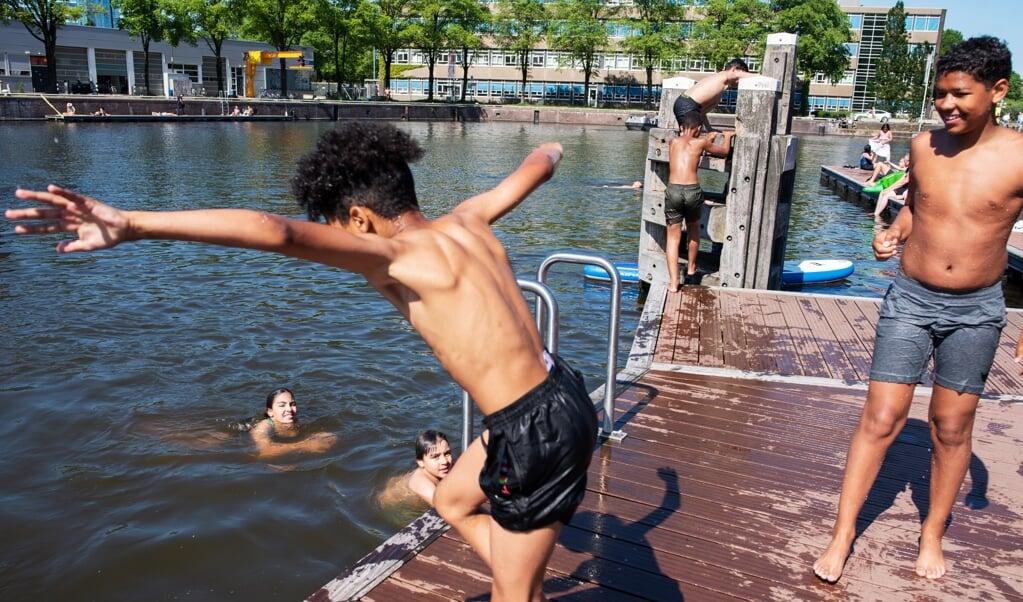 Het Marineterrein in Amsterdam lijkt op warme dagen wel één groot buitenbad. Maar veilig zwemwater is het niet.  (beeld Sabine van Wechem)