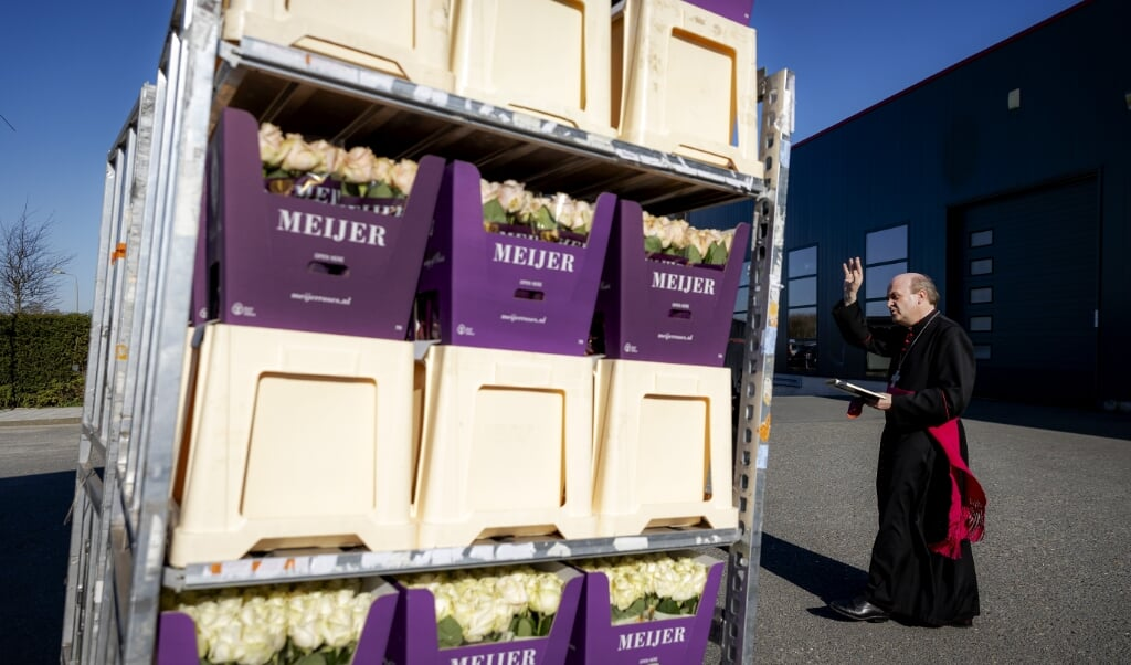 Bisschop Van den Hende zegent de paasbloemen die naar het Vaticaan gaan.  (beeld anp / Robin van Lonkhuijsen)
