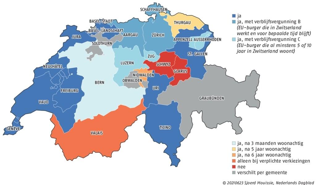 Waar mogen niet-Zwitserse katholieken hun stem uitbrengen bij katholieke verkiezingen en referenda? De 26 kantons hebben verschillende regels. Gegevens en data van deze infographic: kath.ch  (beeld Sjoerd Mouissie)