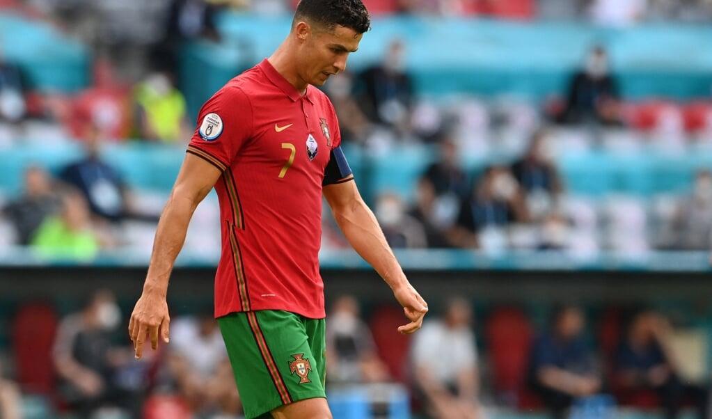 Ronaldo zaterdag tijdens de verloren wedstrijd tegen Duitsland.  (beeld afp / Christof Stache)