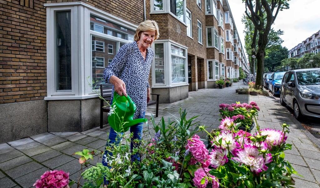 Truus van der Baaren een van de oudere inwoonster van de Walbeeckstraat geeft haar planten water. Op de achtergrond het blokje huizen tussen 42 en 58.   (beeld Raymond Rutting / vk)