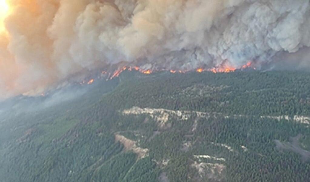 Boeren in Sierra Leone, de inwoners van Lytton in Canada (beeld) en mensen uit Limburg hebben met elkaar gemeen dat klimaatverandering hen raakt.  (beeld afp / BC Wildfire Service)