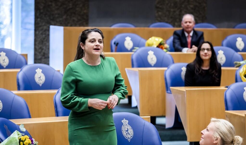 Barbara Kathmann (PvdA) tijdens haar installatie als Tweede Kamerlid in maart.  (beeld anp / Remko de Waal)