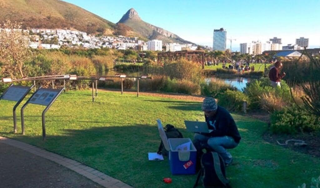 Professor Thulani P. Makhalanyane onderzoekt de bodem in een park in Kaapstad.  (beeld Universiteit van Pretoria)