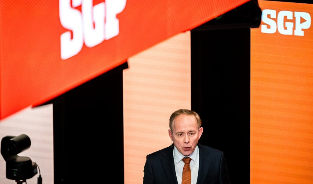 SGP-fractievoorzitter Kees van der Staaij tijdens een digitaal congres in mei.  (beeld anp / Rob Engelaar)