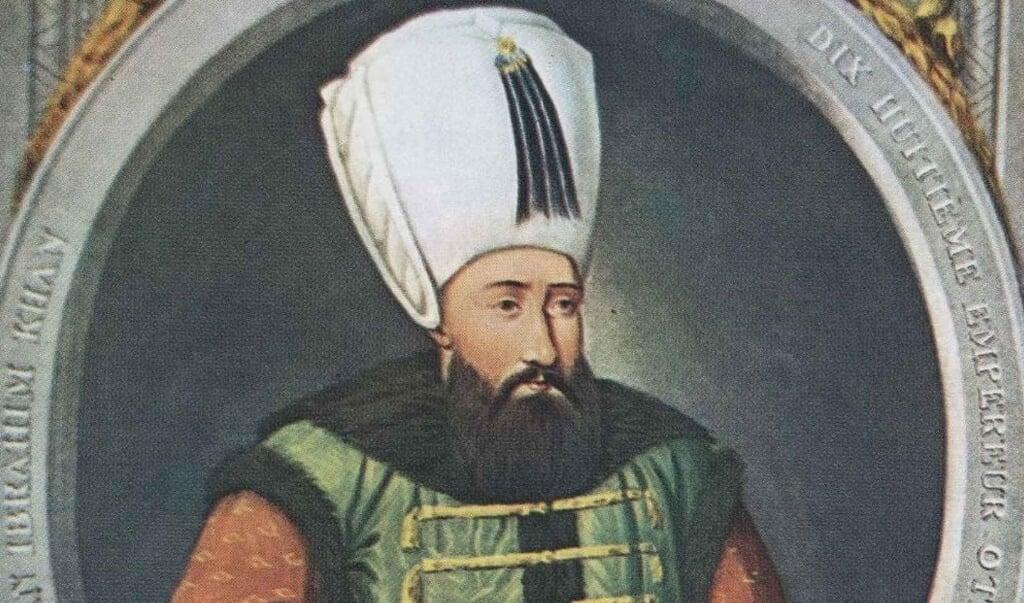 Een gravure van sultan Ibrahim I 'De Gekke'  (beeld wikimedia commons)