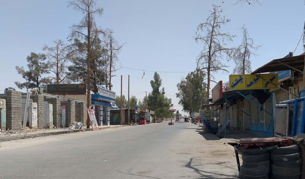 Een markt in de Afghaanse stad Helmand die werd gesloten omwille van de opmars van de taliban. Rusland is bezorgd hierover.  (beeld Epa/watan yar)