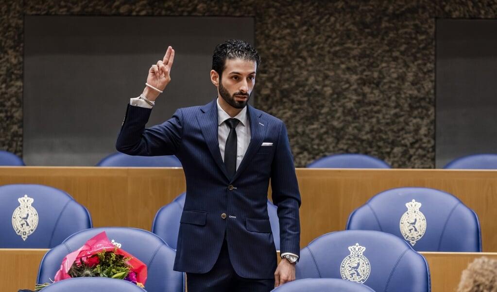 Ulysse Ellian bij zijn beëdiging als lid van de Tweede Kamer.  (beeld anp / Remko de Waal)