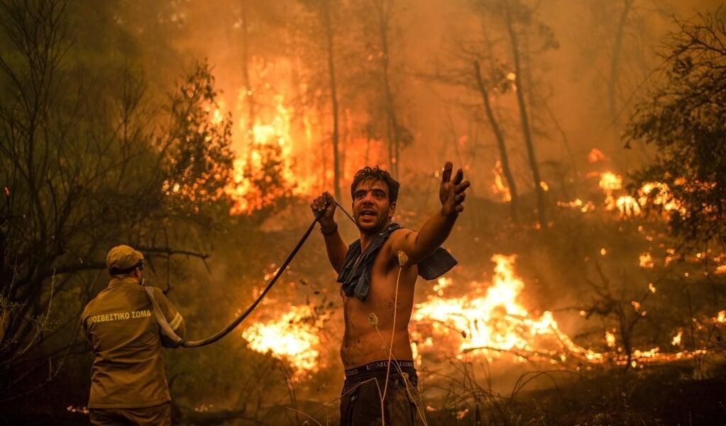 Inwoners van het dorp Pefki op het eiland Evia (Euboea), het op een na grootste eiland van Griekenland, proberen de bosbranden te blussen.  (beeld afp / Angelos Tzortzinis)
