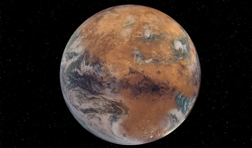 Deze bewerkte foto toont hoe Mars eruit zou zien als de planeet wél water vasthield.  (beeld washington university / Sean Garcia)