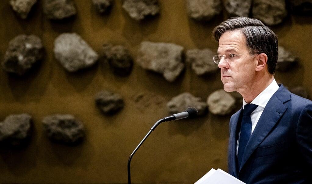 Demissionair premier Mark Rutte tijdens de tweede dag van de Algemene Politieke Beschouwingen.  (beeld anp / Sem van der Wal)