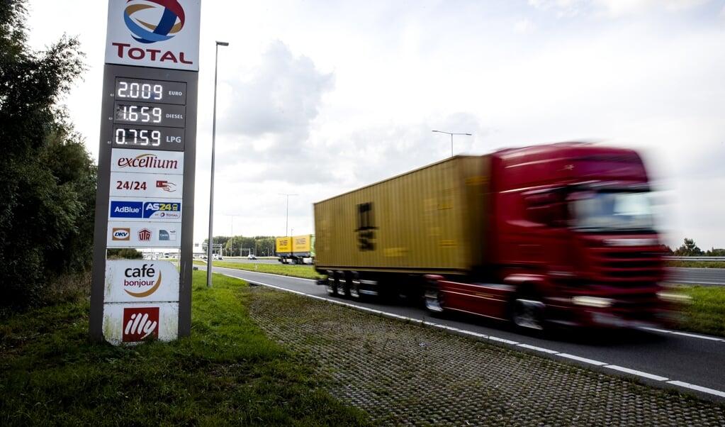 Een benzineprijs van twee euro per liter bij een tankstation langs de A12 bij Harmelen.   (beeld anp / Sem van der Wal)