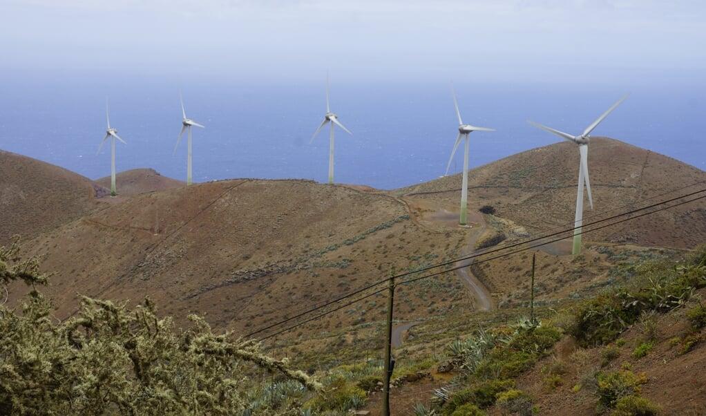 De vijf windmolens hebben een gezamenlijk vermogen van 11,5 megawatt.  (beeld)