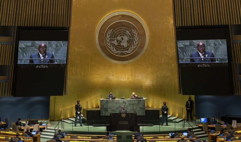 2021-09-22 18:18:54 Ghana's President Nana Addo Dankwa Akufo-Addo addresses the 76th session UN General Assembly on September 22, 2021, in New York.  JUSTIN LANE / POOL / AFP  (beeld Justin Lane / Pool / afp)