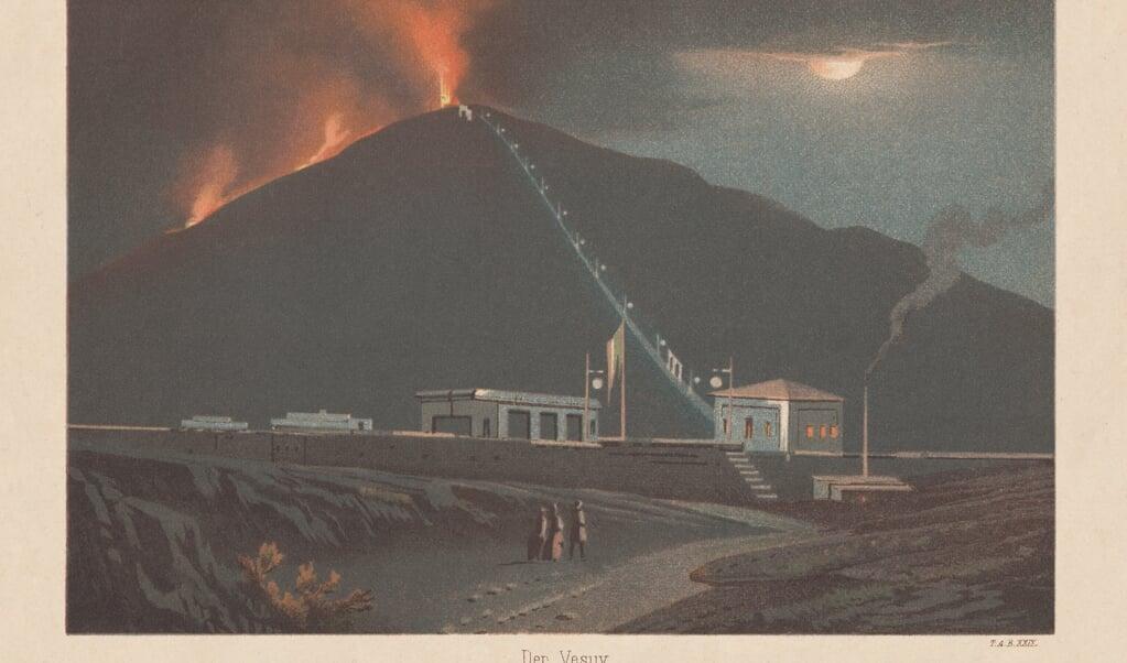 Een vuurspuwende Vesuvius in 1880 op een litho van Thekla von Gumpert uit 1883.  (beeld Uwe Zänker)