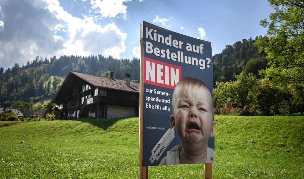 Met onder meer deze posters voeren tegenstanders van het homohuwelijk campagne en niet zonder succes.  (beeld afp / Fabrice Coffrini)