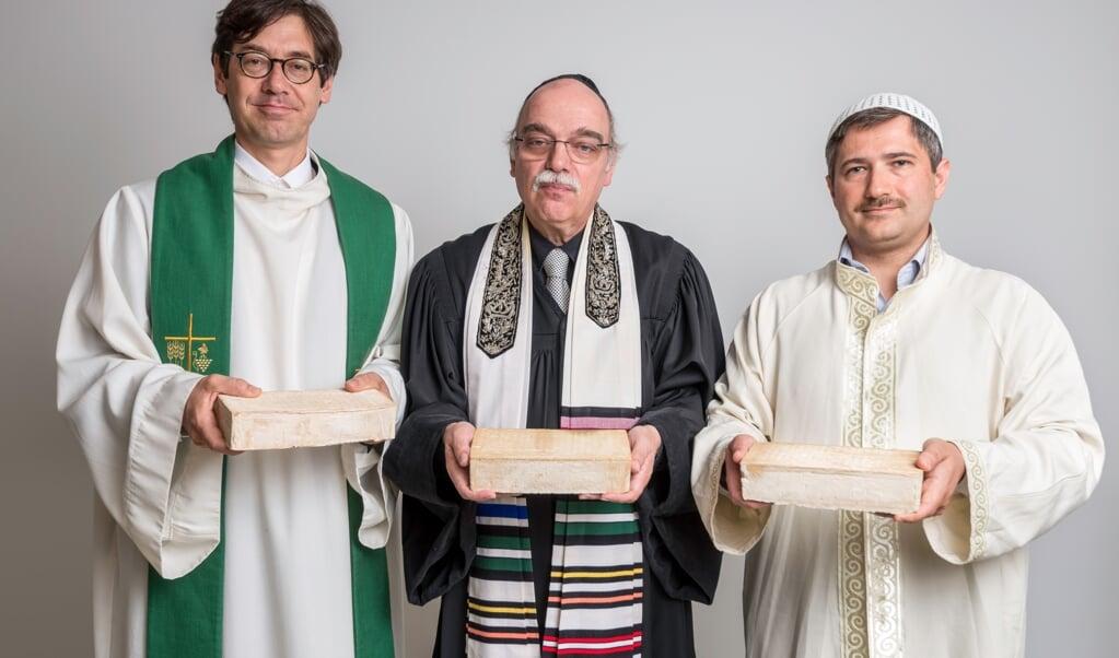 Doinee Hohberg, rabbijn Nachama en imam Sanci.  (beeld House Of One)