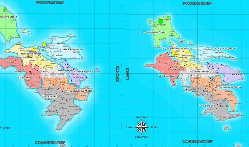 Landkaart: rechtser en minder progressief