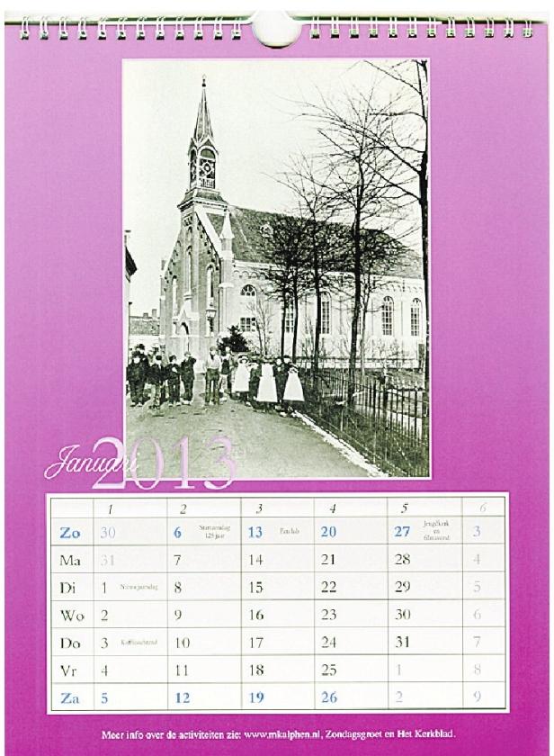Lokaal: kalender van jubilerende Maranathakerk