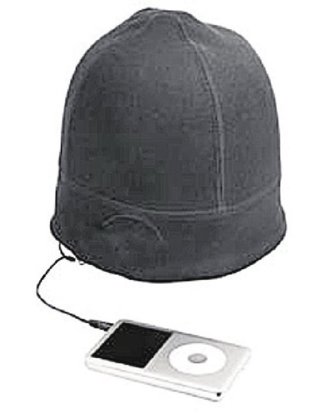Gadget: trui waar draadjes van koptelefoon in muts is verstopt