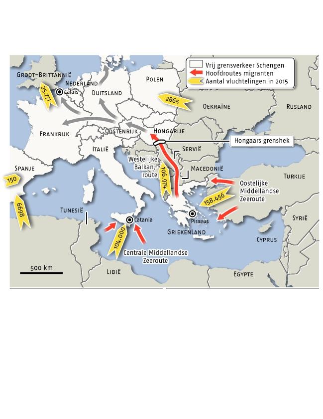 Honderdduizenden op weg naar vluchtheuvel Europa  (nd / Lieneke Eefting en ap)