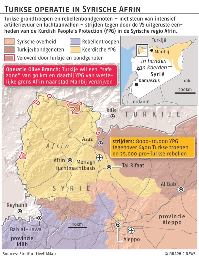 Turkije dreigt over invasie in Afrin