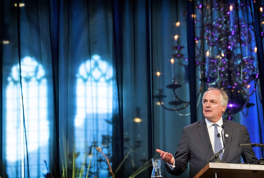 In de Stevenskerk in Nijmegen sprak Unilever-topman Paul Polman in april van dit jaar een rede uit, toen hij de Vrede van Nijmegen Penning kreeg uitgereikt, vanwege zijn bijdrage aan een groenere en duurzamere leefomgeving.  (anp / Piroschka van de Wouw)