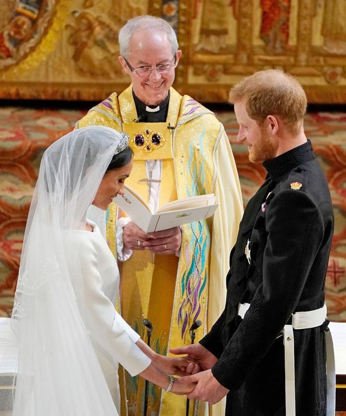Aartsbisschop Justin Welby bij het huwelijk van prins Harry en Meghan Markle.   (afp / Owen Humphreys)