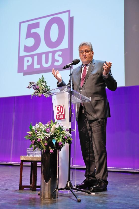 Op de ledenvergadering van 50Plus werd Henk Krol zaterdag aangewezen als lijsttrekker.  (anp / Bas Czerwinski)