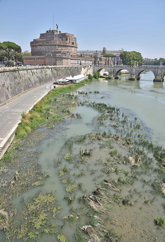 Door onder meer droogte en hitte is het waterpeil in de rivier de Tiber in Rome momenteel bijzonder laag.   (ap / Giorgio Onorati)