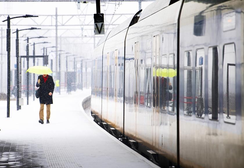 De zwakste plekken bij winters weer zijn de treinstellen, die defect kunnen raken door de kou, en de spoorwissels, die kunnen bevriezen.  (anp / Piroschka van de Wouw)