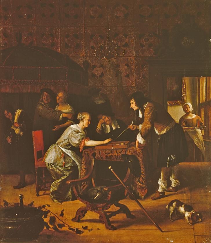 Jan Steen, Trik-trakspel, 1667.   (Evert Elzinga en state hermitage museum, st.-petersburg)
