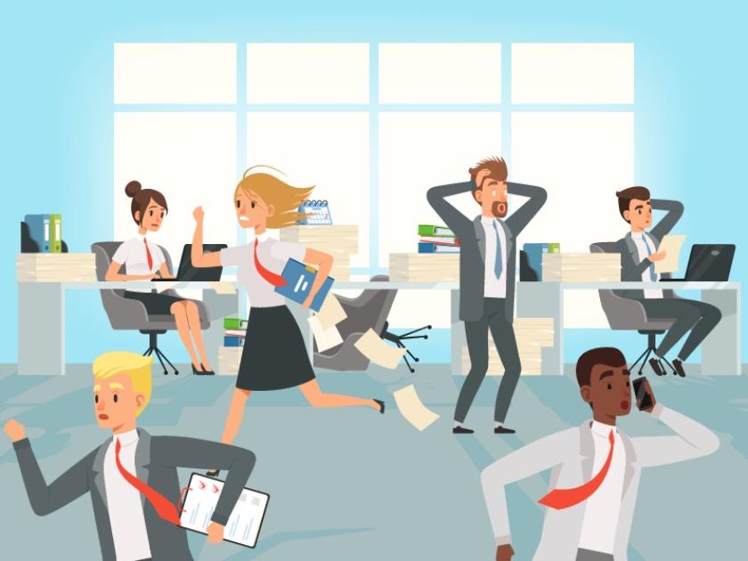 Stress op het werk; een drukke kantoortuin met flexplekken helpt vaak niet mee.  (istock)