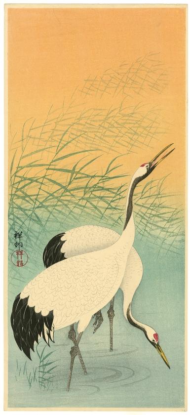 Ohara Koson, Twee kraanvogels, ca. 1935.   (japanmuseum sieboldhuis)